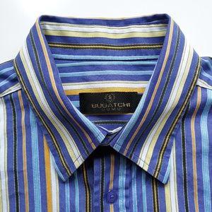 Bugatchi Mens Multicolor Striped Shirt Size L